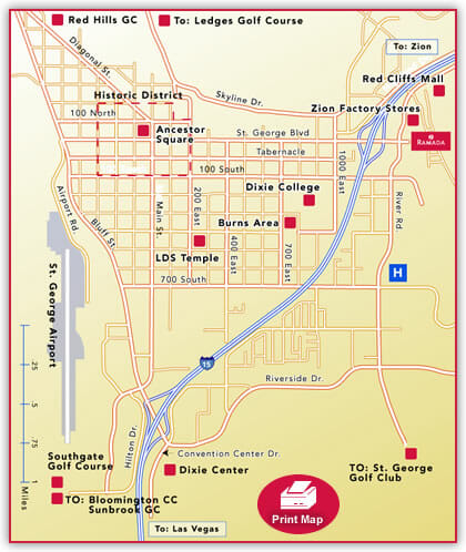 Hotel Location Maps Ramada Inn St George