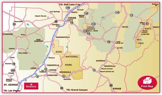 Hotel Location Maps Ramada Inn St George